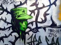 green hat graffitti